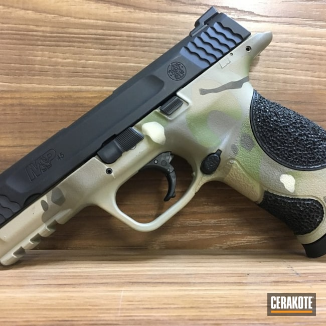 Cerakoted: M&P,HAZEL GREEN H-204,MAGPUL® FLAT DARK EARTH H-267,MultiCam,Desert Sand H-199,Smith & Wesson,Stippled,Pistol,M&P45,Light Sand H-142