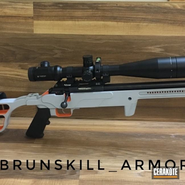 Cerakoted: Chassis,BATTLESHIP GREY H-213,Hunter Orange H-128,Accurate Rifle Systems,ARS Chassis,CZ457