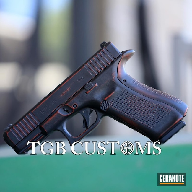 "Thumbnail image for project ""Distressed Glock 45 in Cerakote Graphite Black and Crimson"""