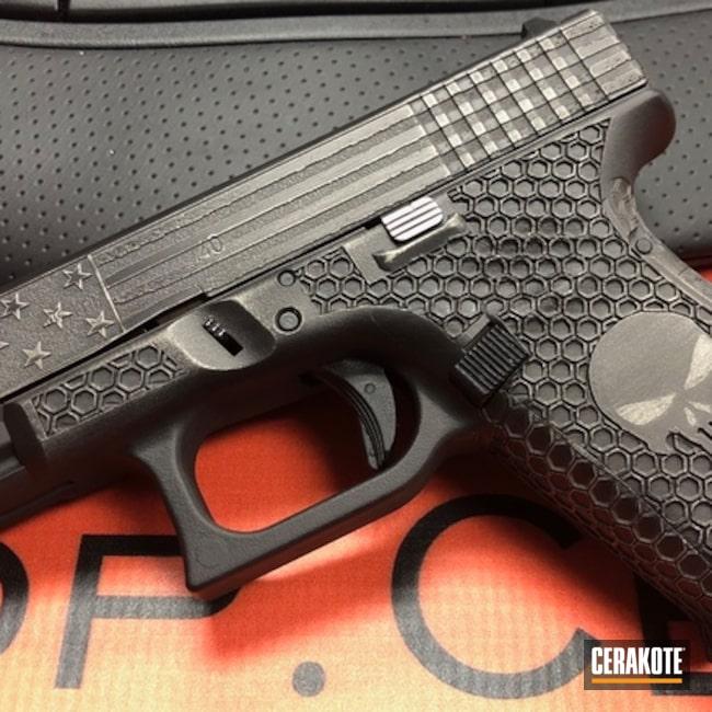 Cerakoted: Punisher,Graphite Black H-146,Distressed American Flag,Tungsten H-237,Pistol,Glock,American Flag,Laser Engrave