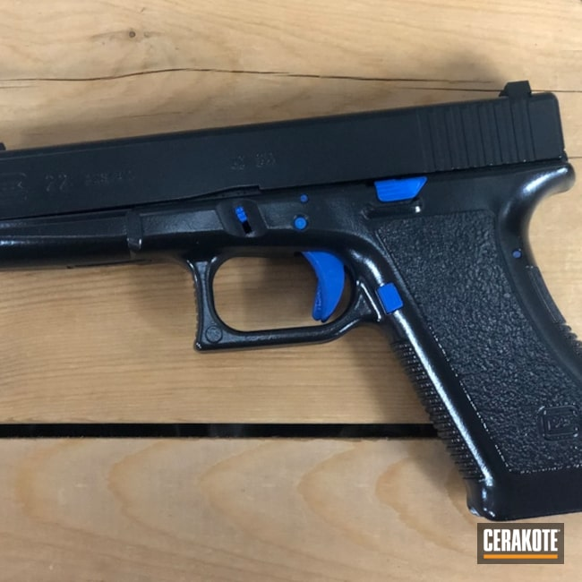 Two Tone Glock 22 in H-171 NRA Blue and H-109 Gloss Black