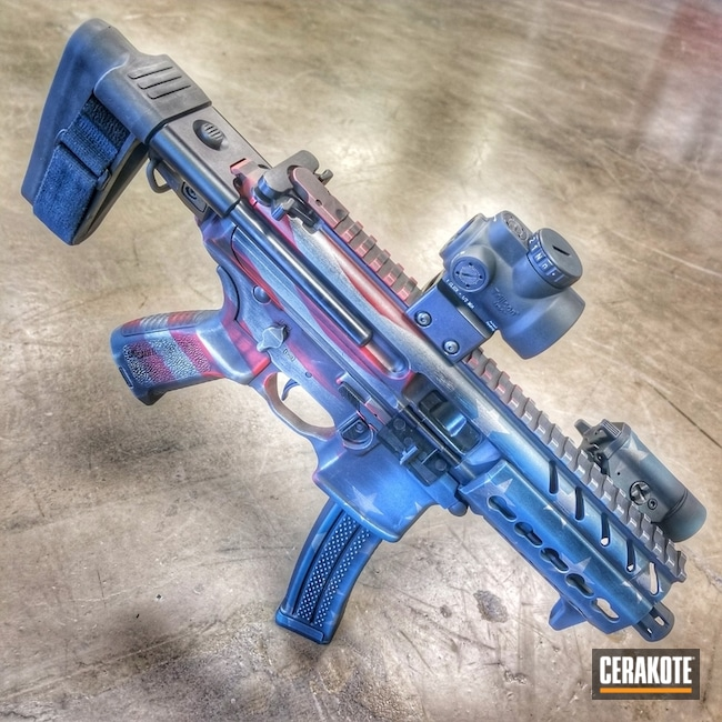 Cerakote Distressed American Flag on this Sig MPX