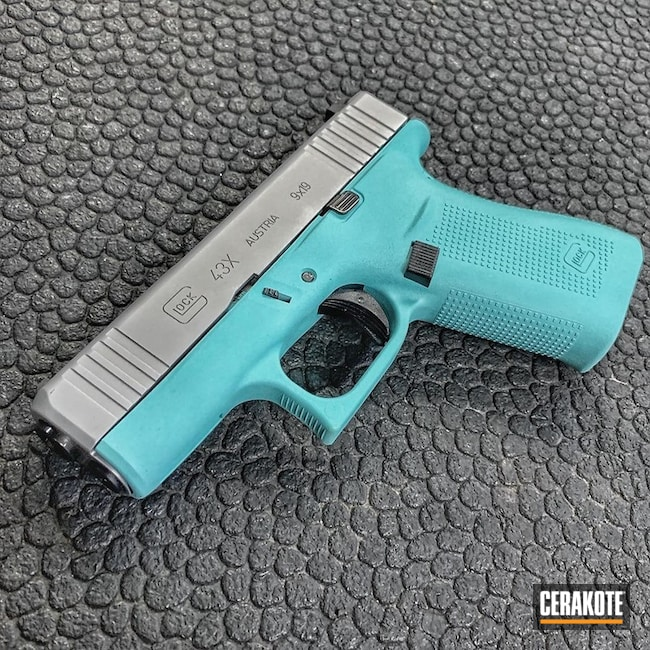 Glock 43X Handgun Cerakoted in H-151 and H-175