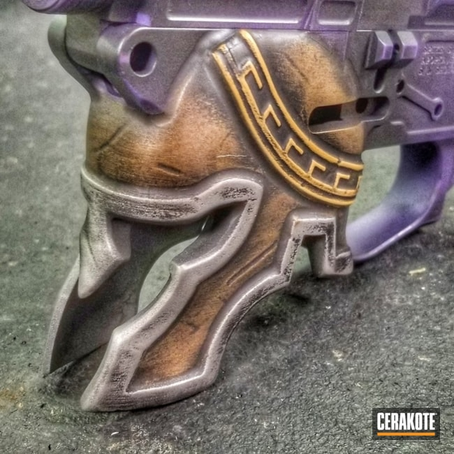 Smaller version of the 1st project picture. Distressed, Battleworn, Spartan, Lower, Spartan Helmet, Burnt Bronze H-148Q, Armor Black H-190Q, Bright Purple H-217Q, Gold H-122Q