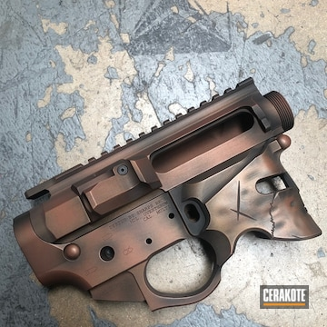 Cerakoted Spartan Helmet Upper / Lower With Custom Distressed Cerakote Finish
