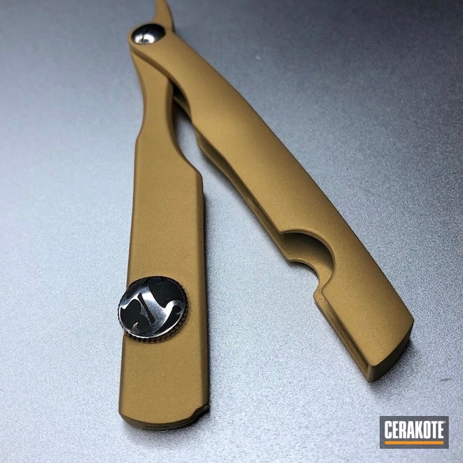Cerakoted Irving Barber Straight Razor Done In Gold H-122