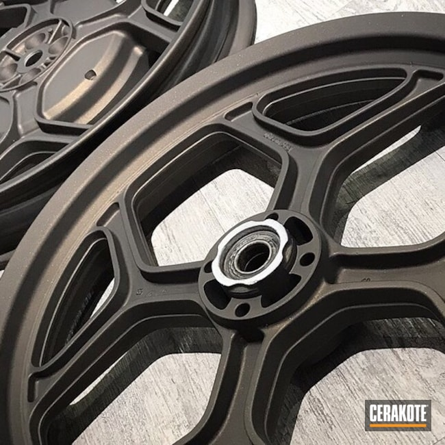 Wheels done in a Custom Mixed Dark Bronze