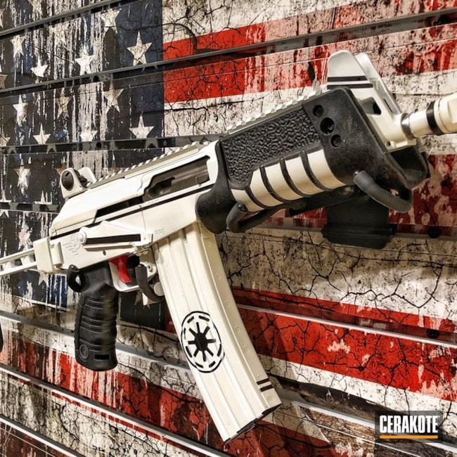Cerakoted: Two Tone,Stormtrooper White H-297,Armor Black H-190,SMITH & WESSON® RED H-216,AK Rifle