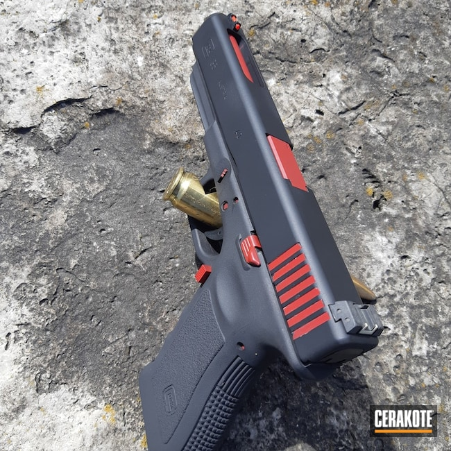 Cerakoted: Two Tone,Armor Black H-190,Pistol,Glock,Glock 35,SMITH & WESSON® RED H-216