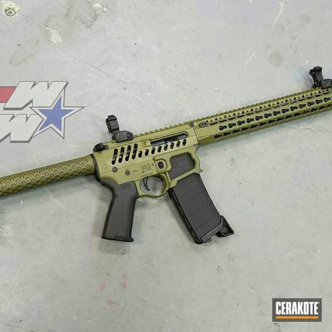 Skeletonized AR-15 Cerakoted with H-189 Noveske Bazooka Green