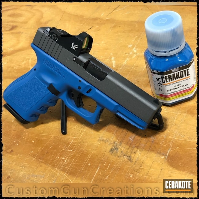 Big version of the 1st project picture. Glock, Two Tone, Pistol, RMR Optic, Ridgeway Blue H-220Q, Solid Color