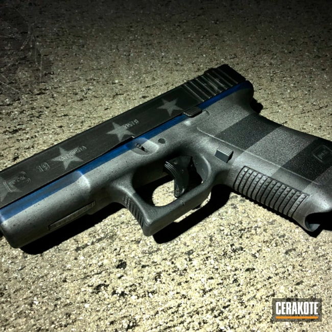 Glock 19 with American Flag / Thin Blue Line Finish
