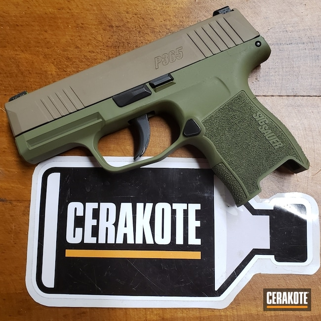 Cerakoted: MAGPUL® FLAT DARK EARTH H-267,Sig Sauer P365,Two Tone,Pistol,Sig Sauer,Noveske Bazooka Green H-189