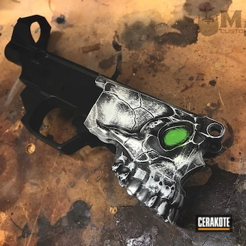 Cerakoted Distressed Spike's Lower Receiver With A Green Eye Accent