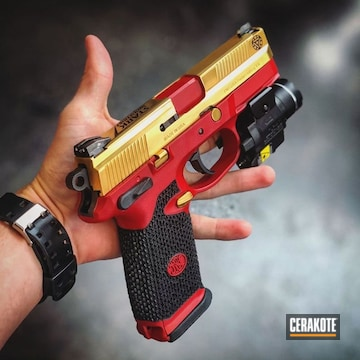 Cerakoted Stark Industries Themed Fn Herstal Handgun
