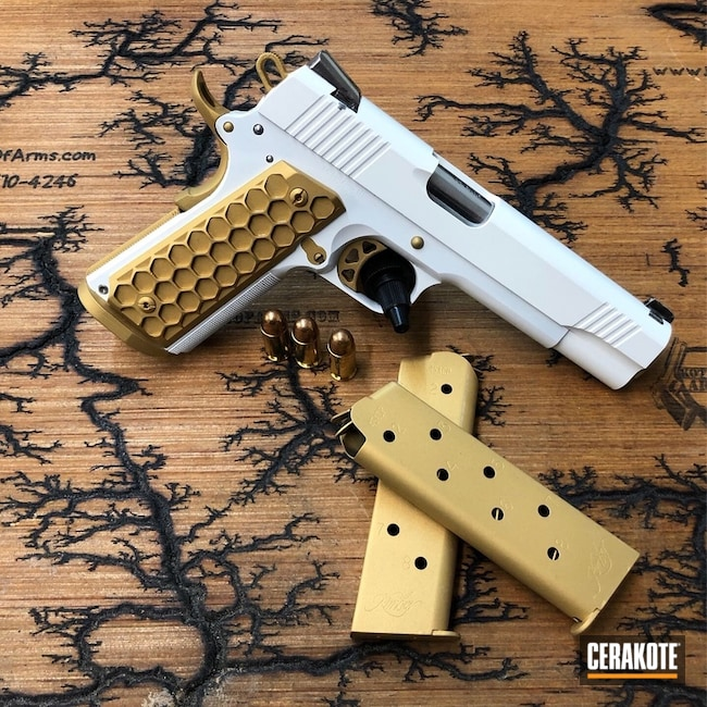 Kimber 1911 finished with H-122 Gold and H-297 Stormtrooper White