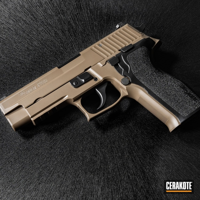 "Thumbnail image for project ""Two Toned Sig Sauer P226 in Cerakote Elite Blackout and FDE"""