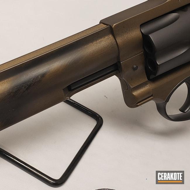 Cerakoted: Ruger,Battleworn,.357 Magnum,Graphite Black H-146,Distressed,Two Tone,Revolver,gp100,Burnt Bronze H-148,Ruger GP100