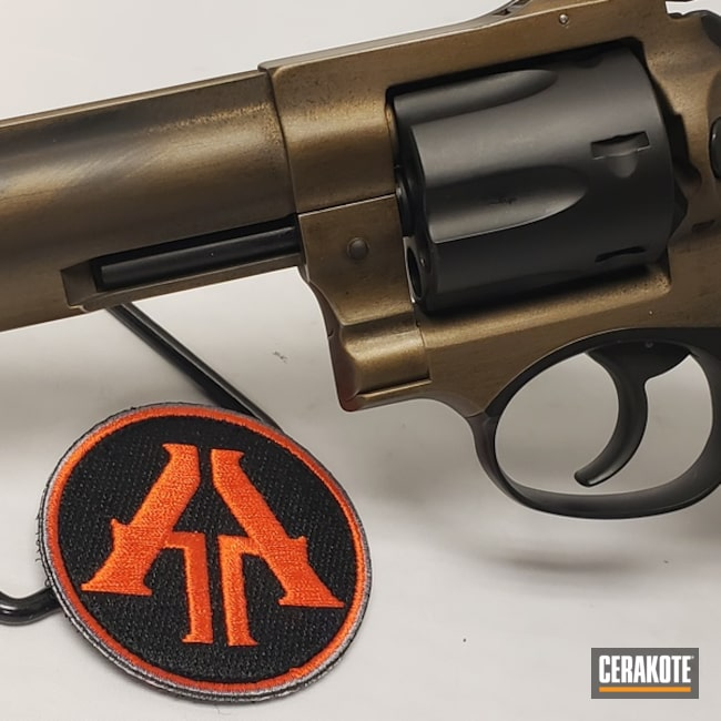 Mobile-friendly version of the 5th project picture. Graphite Black H-146Q, Ruger, Distressed, Two Tone, Battleworn, Revolver, Burnt Bronze H-148Q, .357 Magnum, gp100, Ruger GP100