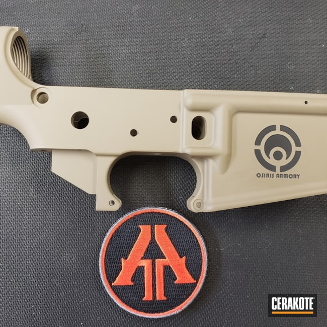 AR Lower Receiver with Cerakote Graphite Black and MagPul FDE