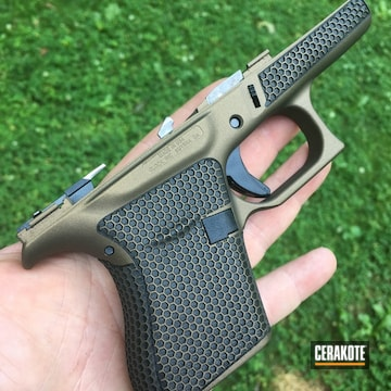 Cerakoted H-148 Burnt Bronze And Laser Stippling On This Glock 43 Frame