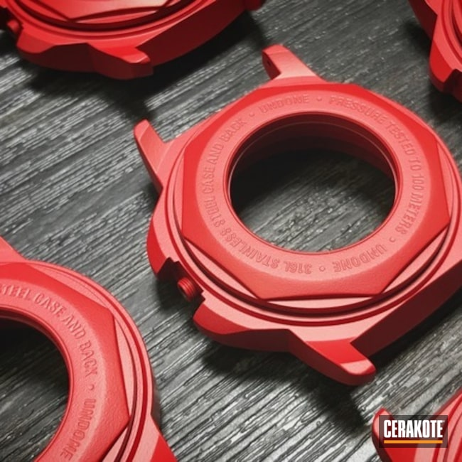 Cerakoted Undone Watch Parts With A Cerakote Usmc Red Finish