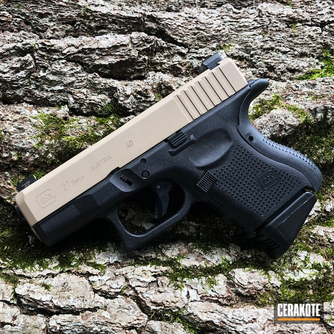 Smaller version of the 1st project picture. Glock, Two Tone, Pistol, Glock Gen 4, Desert Sand H-199Q, Glock 27, Glock 27 Gen4
