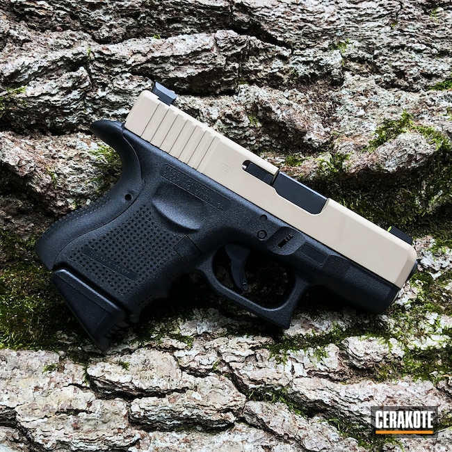 Smaller version of the 2nd project picture. Glock, Two Tone, Pistol, Glock Gen 4, Desert Sand H-199Q, Glock 27, Glock 27 Gen4