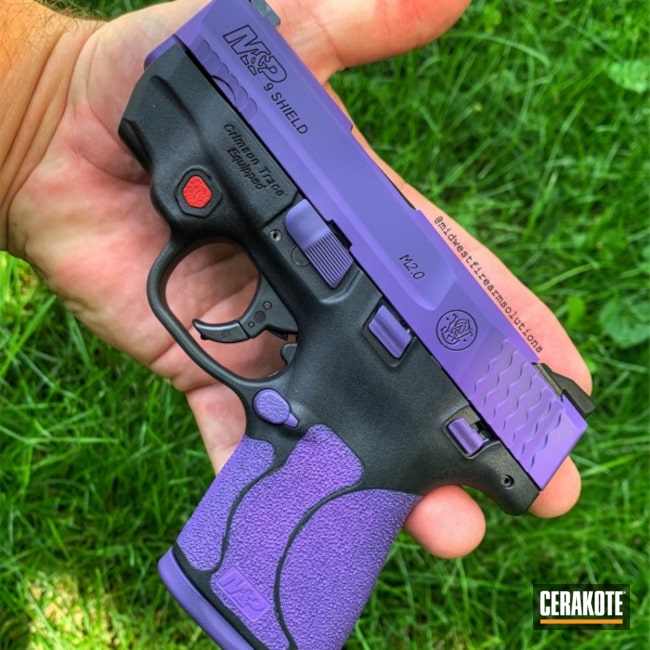 Two Toned Purple and Black M&P Shield Handgun