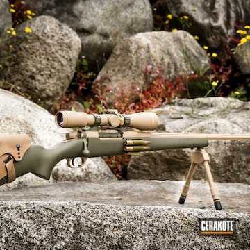 Cerakoted Weatherby Mark V And Leupold Scope With A Coyote Tan And Mil Spec O.d. Green Cerakote Finish