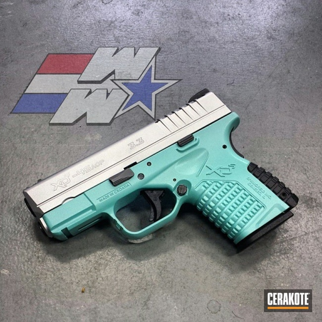Big version of the 1st project picture. Springfield, Two Tone, Pistol, Springfield XDS, Satin Aluminum H-151Q, Robin's Egg Blue H-175Q, Wicked Weaponry