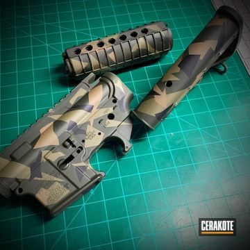Cerakoted Bushmaster Ar-15 With A Cerakote Splinter Camo Finish