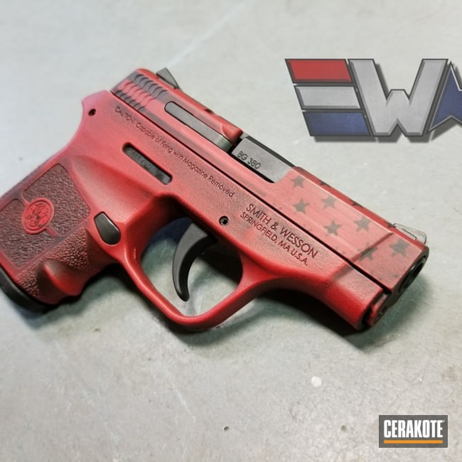 "Thumbnail image for project ""Smith & Wesson Handgun with a Custom Red and Black American Flag Themed Finish"""
