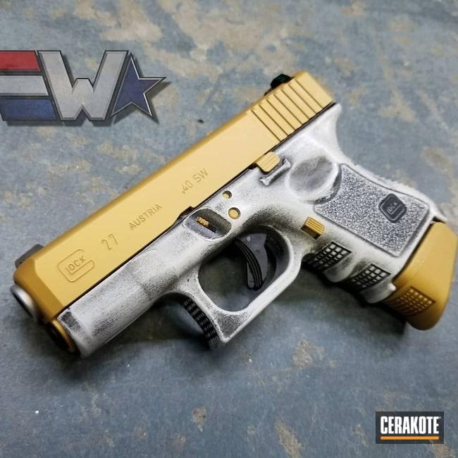 Cerakoted: Bright White H-140,Battleworn,Distressed,Two Tone,Armor Black H-190,Pistol,Wickedworn,Glock,Glock 27,Wicked Weaponry,Gold H-122