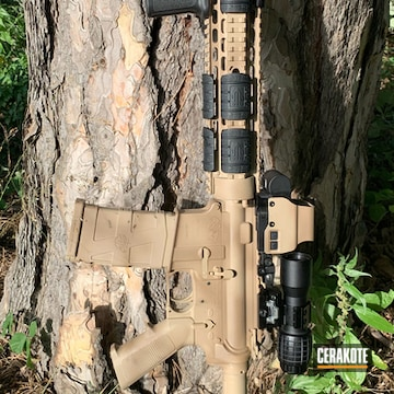 Cerakoted Colt M4 Ar-15 Rifle With Cerakote Desert Sand And Mud Brown