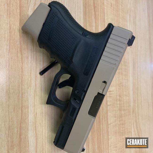 Cerakoted: Glock 29,Two Tone,Desert Sand H-199,Pistol,Glock,O.D. Green H-236,USMC,Slide,Custom Stenciling,Glock 29 Gen 4