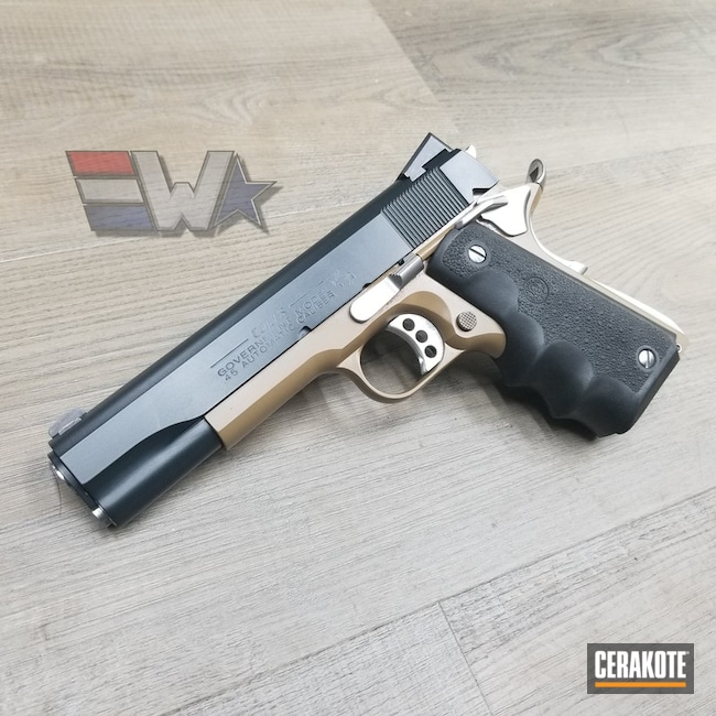 "Thumbnail image for project ""Colt 1911 Government Model with Cerakote Desert Sand and Socom Blue"""