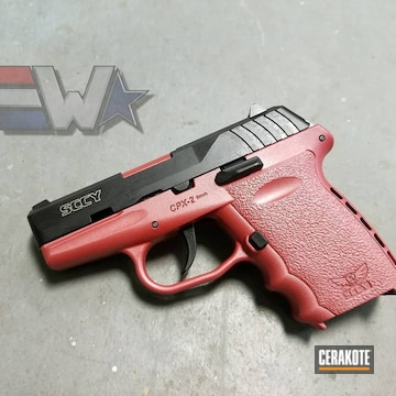 Cerakoted Two Toned Graphite Black And Smith & Wesson Red Sccy Cpx-2 Handgun