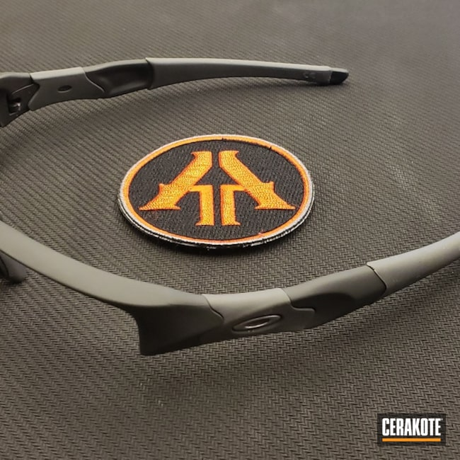 Oakley Sunglass Frame Cerakoted with H-214 Smith & Wesson Grey