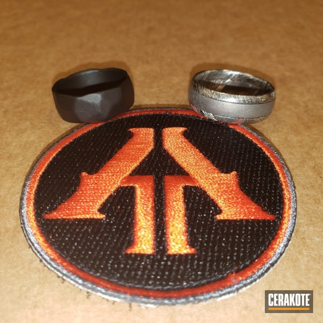 Cerakoted: Meteor,Wedding Band,Damascus Steel,Wedding Ring,Clear Coat,MATTE ARMOR CLEAR H-301,More Than Guns