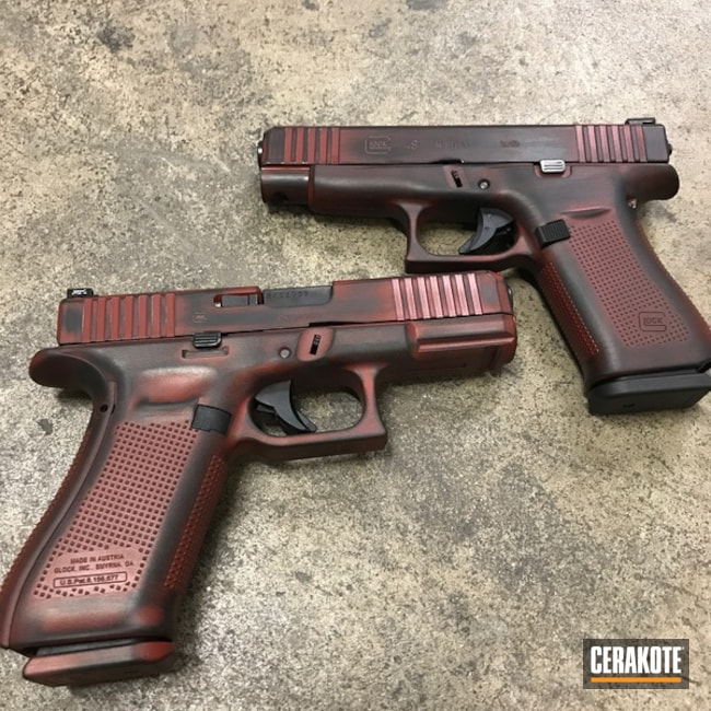 Cerakoted: Glock 48,Distressed,Gen II Graphite Black HIR-146,Crimson H-221,Glock,Pistols