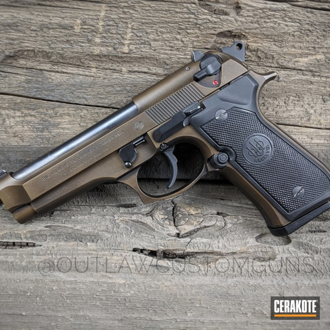 Beretta 92 Handgun in a Distressed Bronze Cerakote Finish