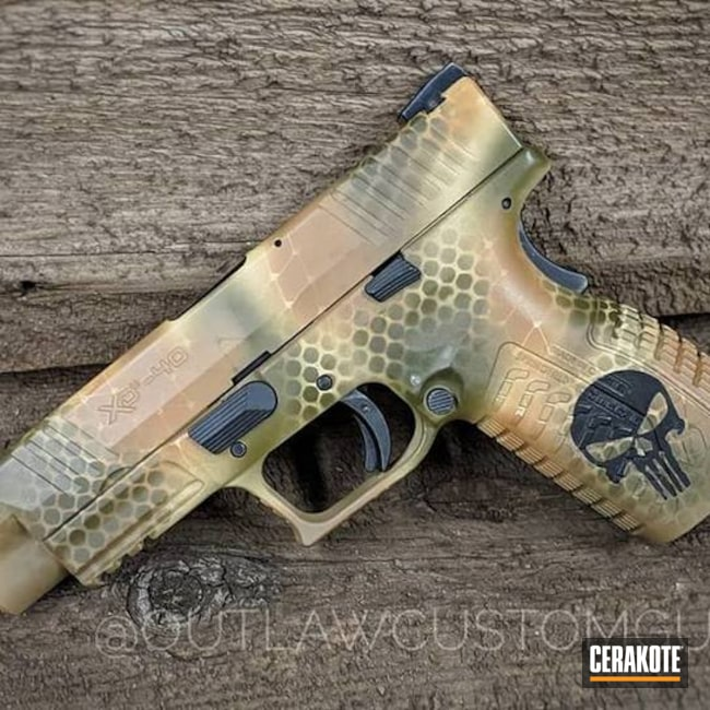 Springfield XD Handgun in a Custom Snake Skin Camo Finish