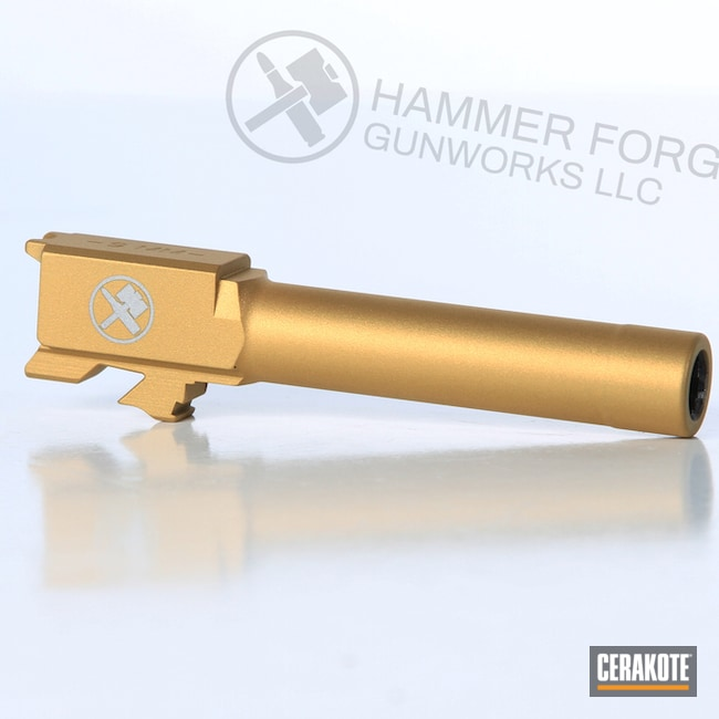 Cerakoted Smith & Wesson Handgun Barrel Finished In Cerakote H-122 Gold