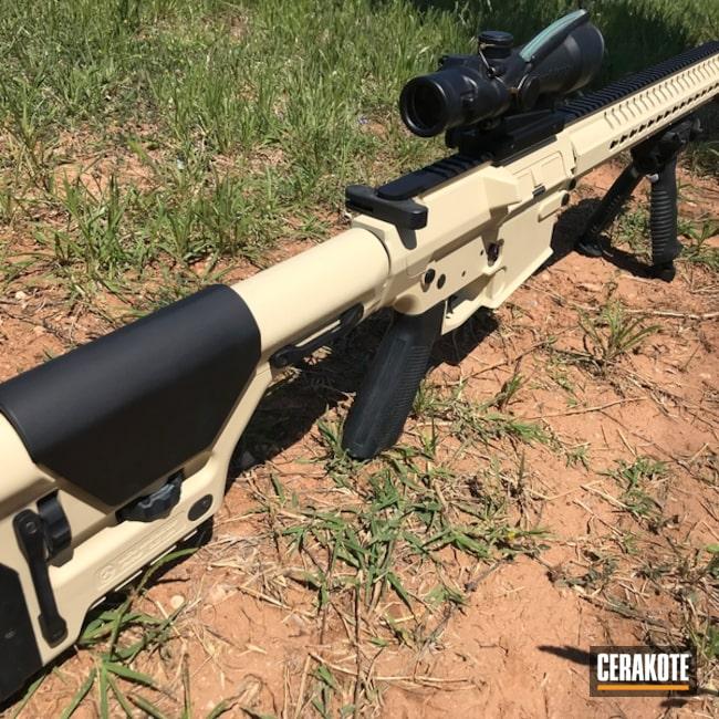 Cerakoted: Graphite Black H-146,AR-10,Tactical Rifle,CMMG,Light Sand H-142