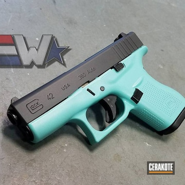 Cerakoted Glock 42 In A Two Tone Robin's Egg Blue And Armor Black