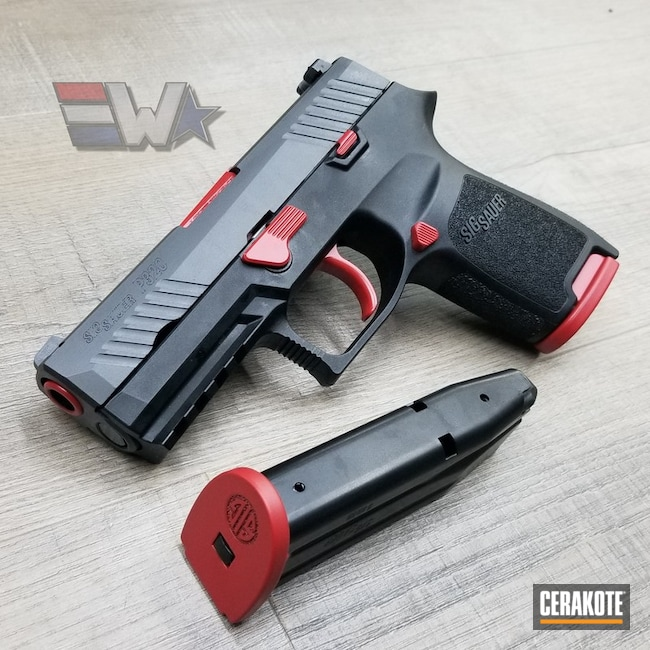 Cerakoted: Sig Sauer P320,Two Tone,Pistol,Sig Sauer,Accent Color,SMITH & WESSON® RED H-216,Wicked Weaponry