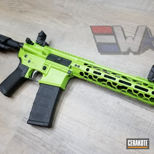 Cerakoted: AR Pistol,SBA3,Zombie Green H-168,Tactical Rifle,Gun Coatings,Odinworks,Wicked Weaponry