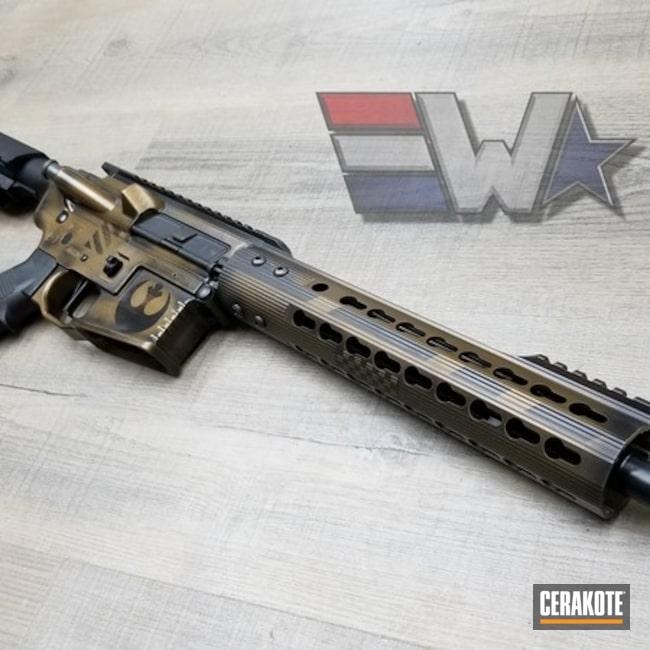 Cerakoted: AR Pistol,Battleworn,Rebel Alliance,Distressed,Burnt Bronze H-148,Armor Black H-190,Tactical Rifle,Wickedworn,Gun Coatings,Stencil,Wicked Weaponry,Star Wars