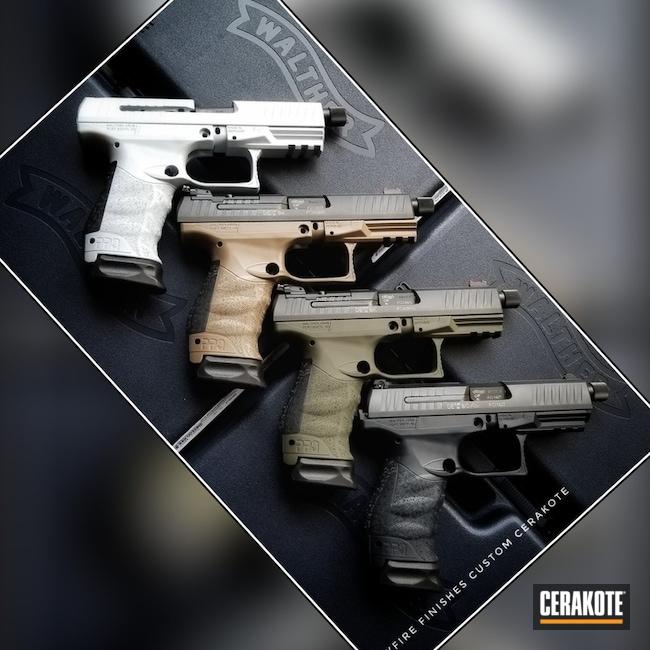 Cerakoted: Walther,Socom Blue H-245,M17 COYOTE TAN E-170,Solid Tone,BATTLESHIP GREY H-213,Gun Coatings,Pistols